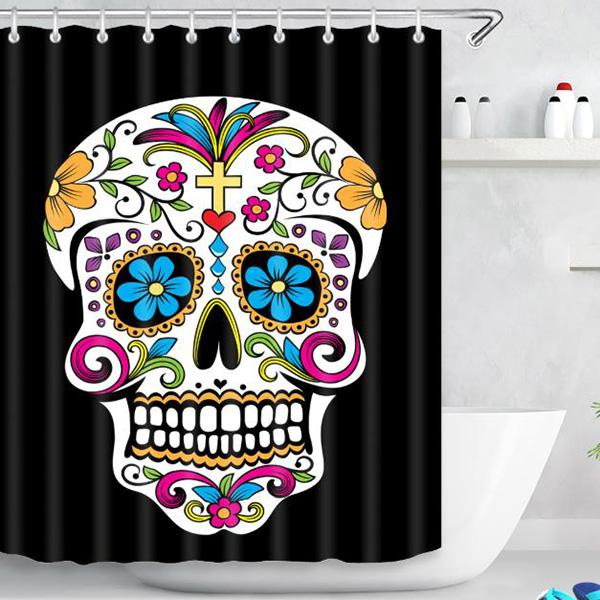 Halloween Skull Pattern Bathroom Curtain Mildew Waterproof Shower Curtain