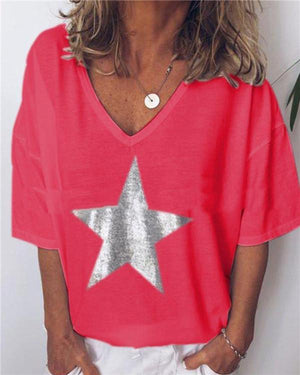 Summer Women Solid Star Printed V Neck Loose Tops