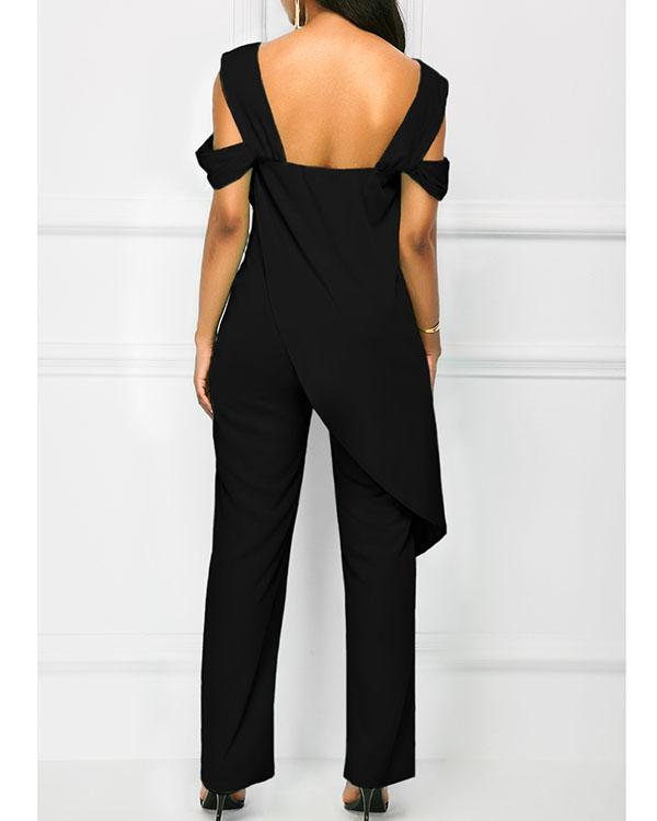 Open Back Strappy Cold Shoulder Overlay Jumpsuit