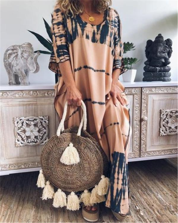 Printed Crew Neck Boho Abstract Maxi Dresses