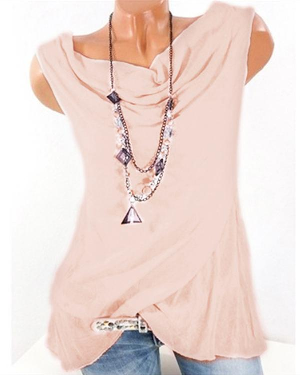 Plus Size Loose Solid Color Sleeveless T-Shirts