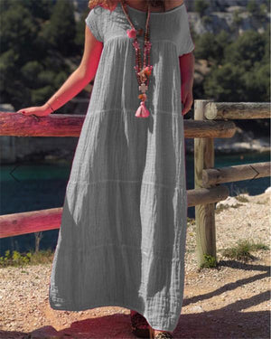 Vintage Bohemian Solid Short Sleeve Maxi Dress