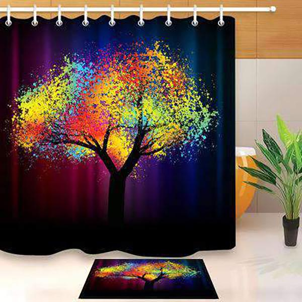 Colorful Tree of Life Print Waterproof Bathroom Shower Curtain