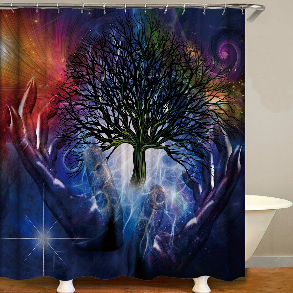 New Life Tree Magical Seven Chakras Digital Printing Pattern Bathroom Curtain Mildew Waterproof Shower Curtain
