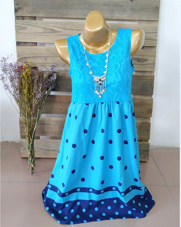 Women Casual Lace Printed Sleeveless Plus Size Dress