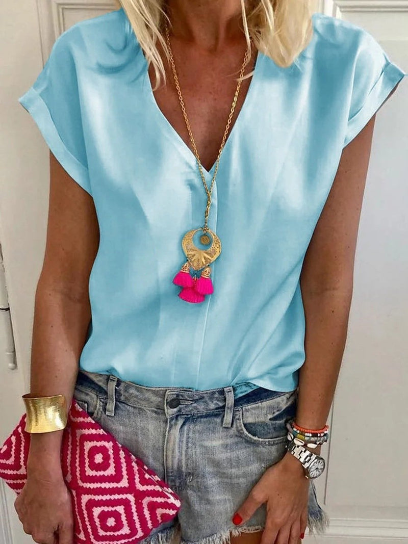 Causl V Neck Solid Simple T-Shirts Tops