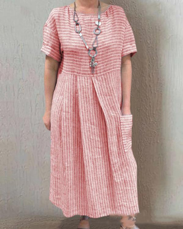 Casual Short Sleeve Crew Neck Striped Pockets Maxi Dresses