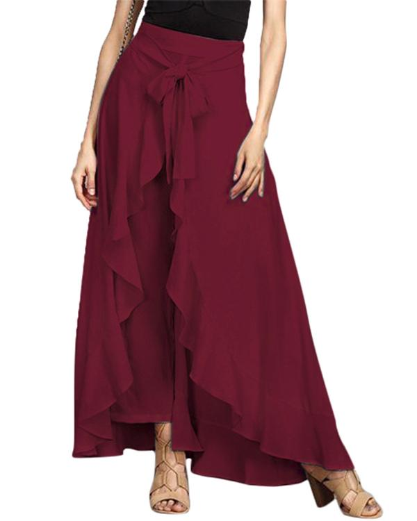 Ruffled Hem Stitching Culottes Loose Pants