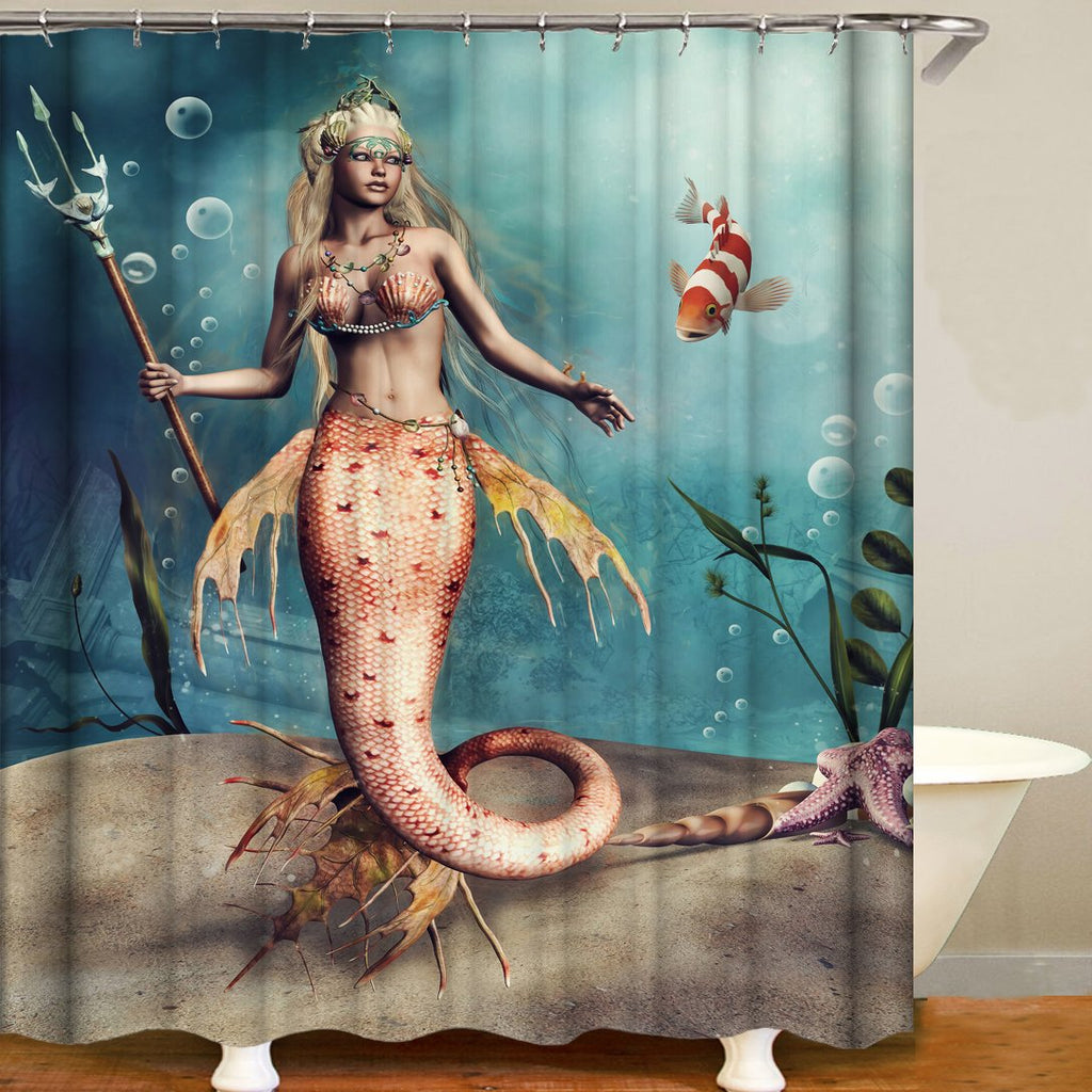 Cartoon mermaid Digital Printing Bathroom Curtain Mildew Waterproof Shower Curtain