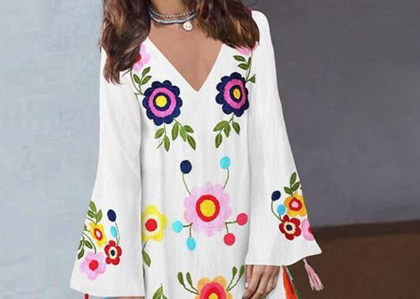 Women Vintage Long Sleeve Print V-Neck Split Dress