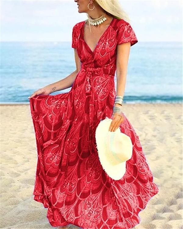 Floral Summer Holiday Daily  Women Fashion Maxi Dresses