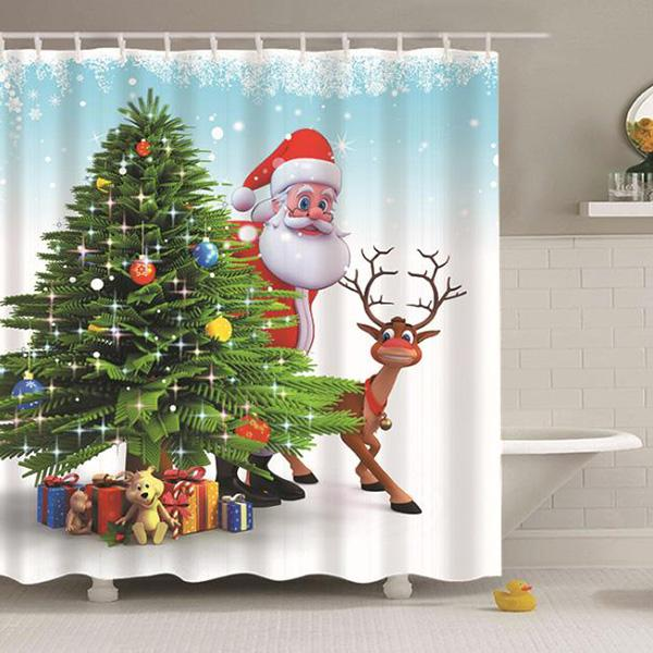 Santa Claus with Deer Christmas Series Pattern Bathroom Curtain Mildew Waterproof Shower Curtain