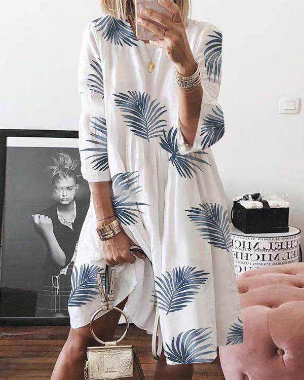 Leaf Printed Crew Neck Casual Shift Dresses