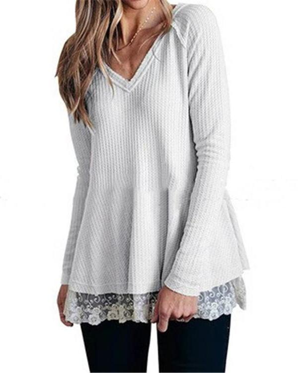 Casual Long Sleeve Lace V-Neck Blouses Tops