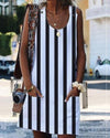 Women Casual Sleeveless Striped Pocket Dress