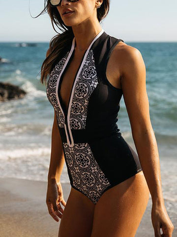 Sexy V-neck Printed One-piece Swimwear
