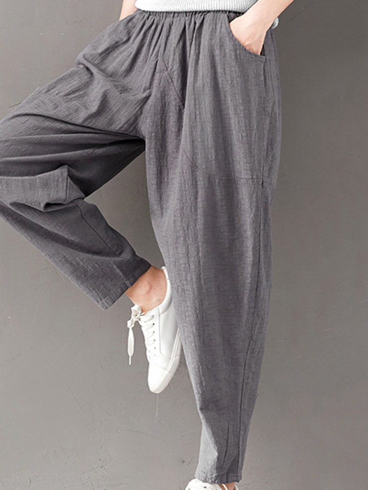 Casual Solid Color Elastic Waist Full Length Women Harem Pants