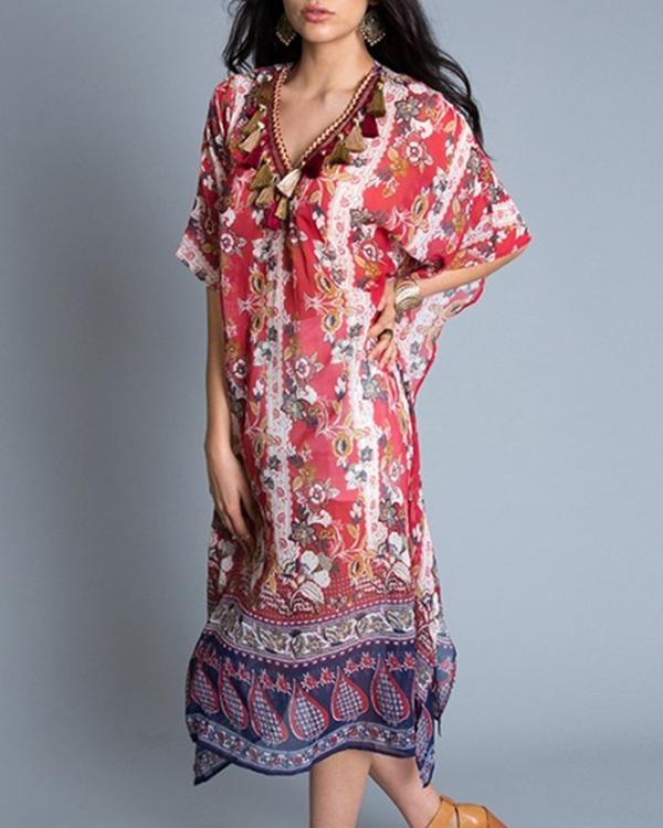 Women Casual V Neck Half  Sleeve Floral Printed Dress