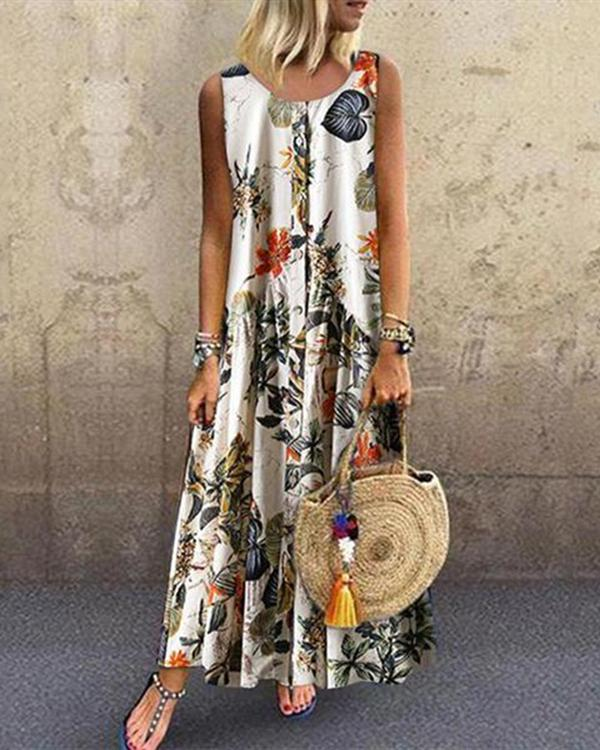 Floral Round Neckline Sleeveless Maxi A-line Dress