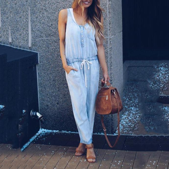 Casual Sleeveless Round Neck Pocket Denim Jumpsuits
