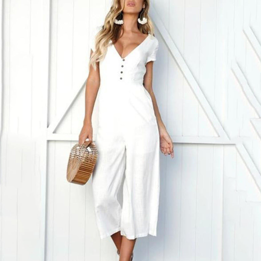 Casual Loose V-neck Button Jumpsuit