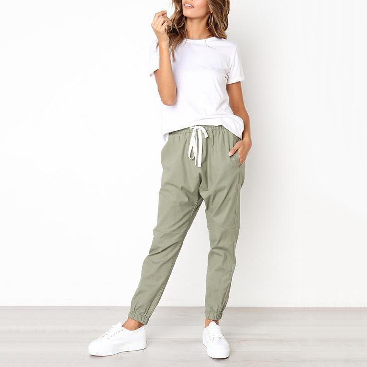Casual Solid Drawstring Pants