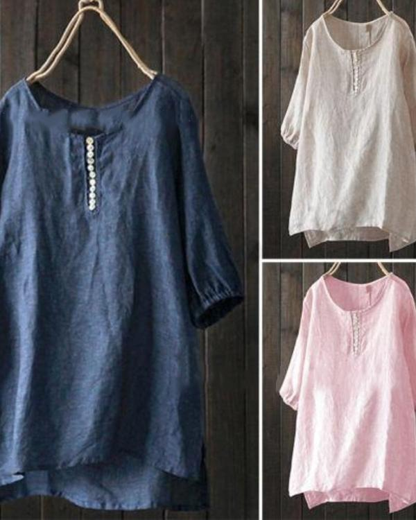 Casual Solid Short Sleeve Crew Neck Plus Size Blouses Tops