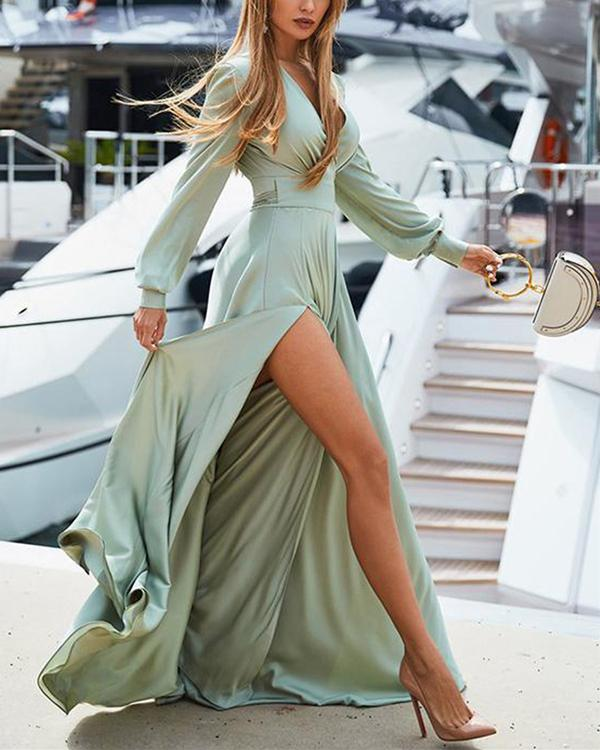 Bohemian V Neck Long Sleeve Solid Color Maxi Dresses