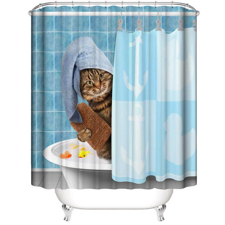 Mouldproof Cat Print Bathroom Shower Curtain