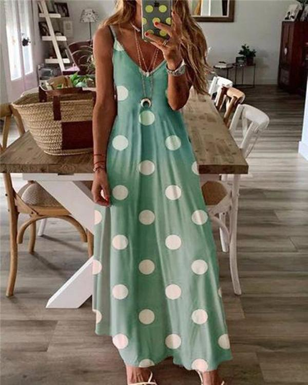 Bohemian Polka Dots Fashion Printing Sleeveless Maxi Dresses
