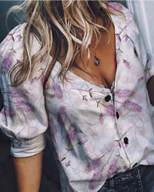 Plain V Neck Long Sleeves Button Up Casual Sexy Shirt Blouses Tops