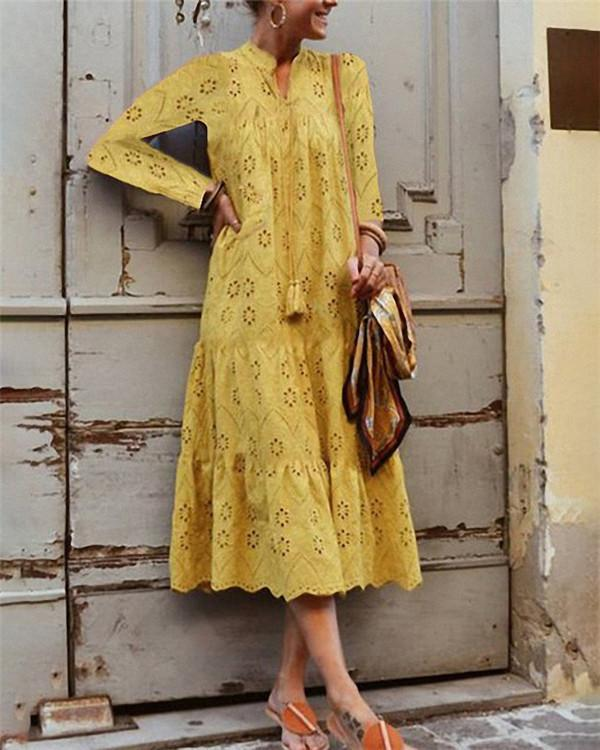 Vintage Stand Collar Hollow Out Solid Casual Fashion Daily Maxi Dress