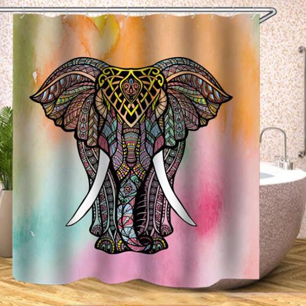 African Elephant Digital Printing Pattern Bathroom Curtain Mildew Waterproof Shower Curtain