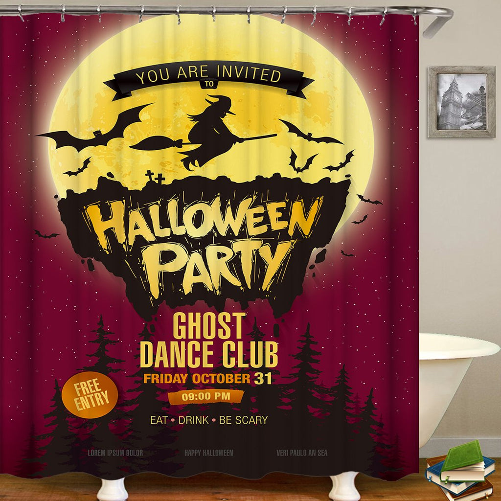 Halloween Party Home Decor Digital Printing Bathroom Curtain Mildew Waterproof Shower Curtain