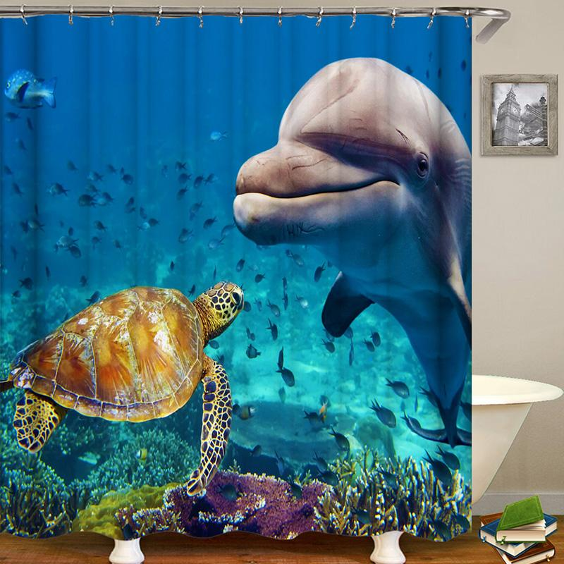 Marine Life Series Digital Printing Pattern Bathroom Curtain Mildew Waterproof Shower Curtain
