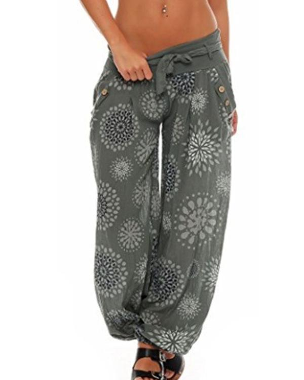 Casual Printed Tie Plus Size Wide Leg Pants