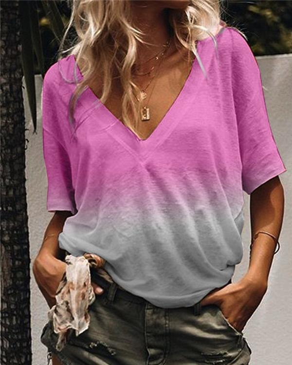 Women Casual Half Sleeve V Neck Gradient Shirts Tops