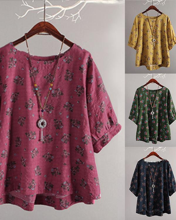 Bohemian Printed Long Sleeve Crew Neck Plus Size Blouses Tops