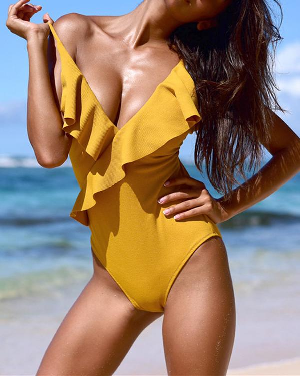 Women Flounce Ruffled One-Piece Swimsuits