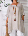 Solid Linen Loose Long Sleeve Fall Casual Shirts & Tops