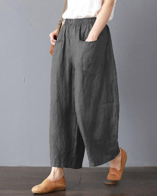 Women Casual Cotton Plain Pockets Striped Plus Size Pants