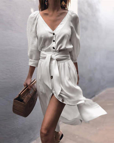 Solid Short Sleeve Button  Midi Dress