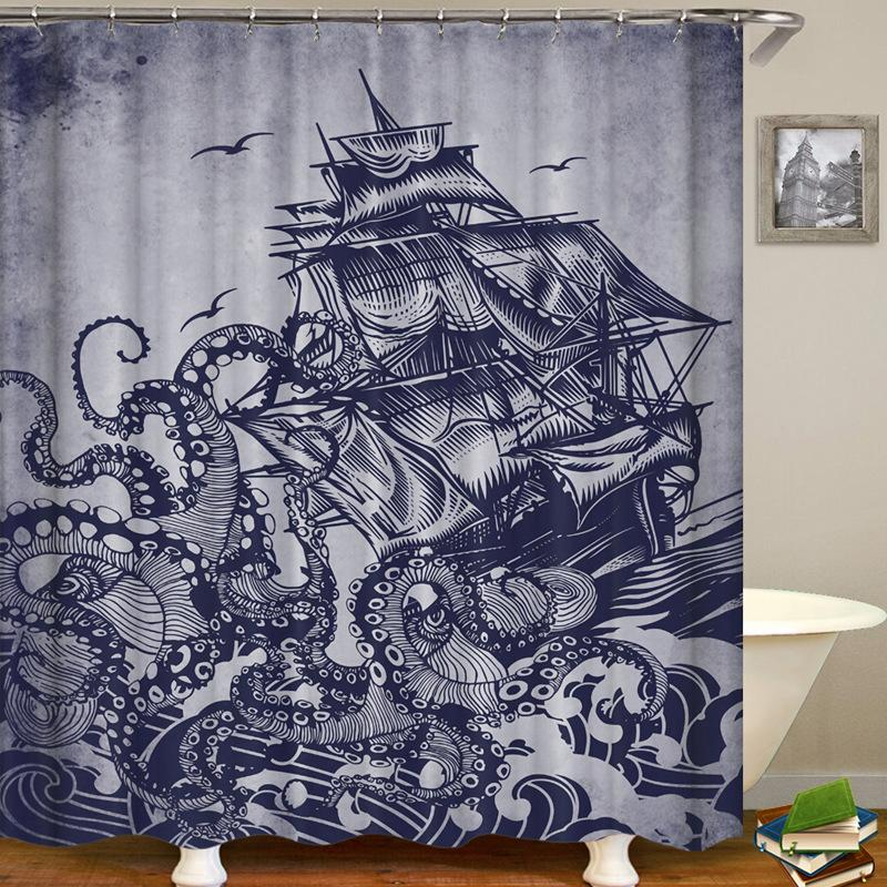 Boat Printing Bathroom Waterproof Shower Curtain
