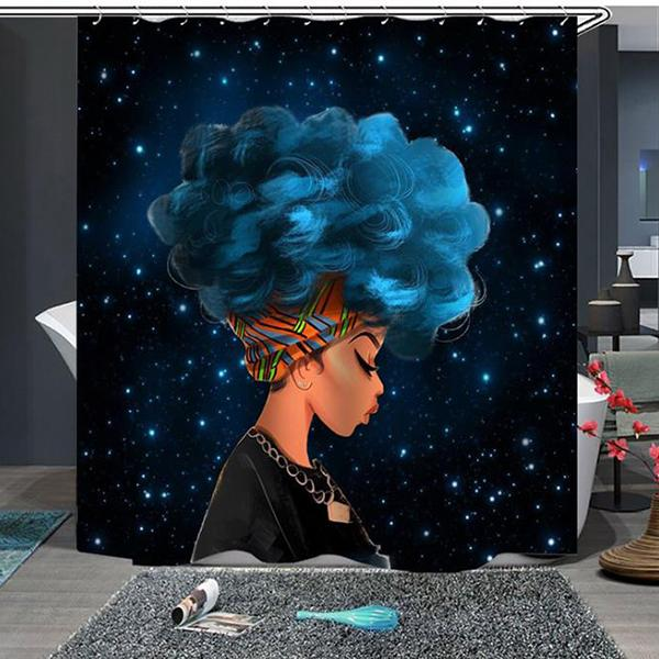 Starry Night Waterpoof Afro Girl Hair Shower Curtain For Bathroom
