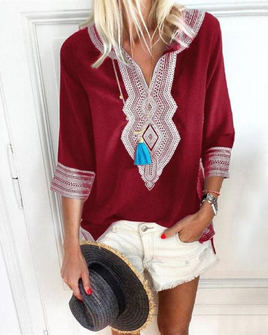 Bohemian Printed Stripe V-Neck Blouse
