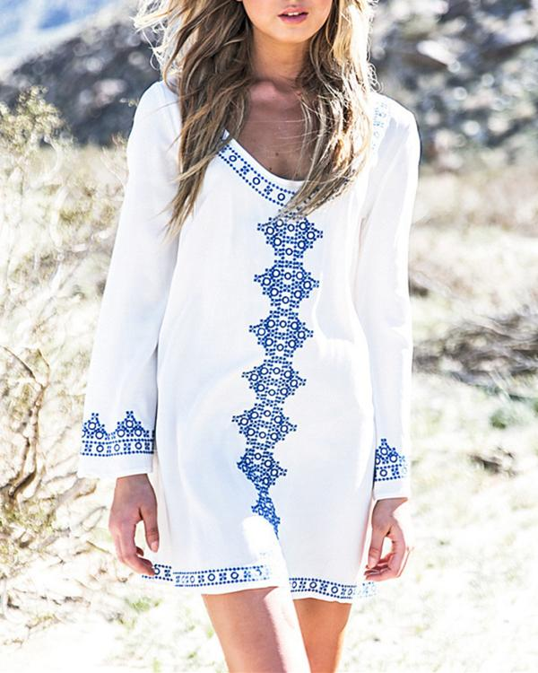 Bohemian Printed Long Sleeve Vacation Mini Dresses