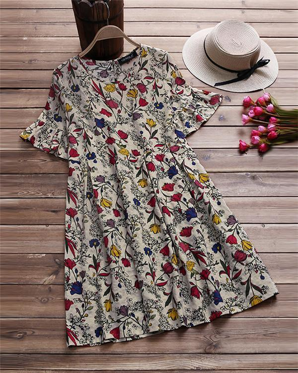 Plus Size Floral Printed  Crew  Neck  Blouses Tops