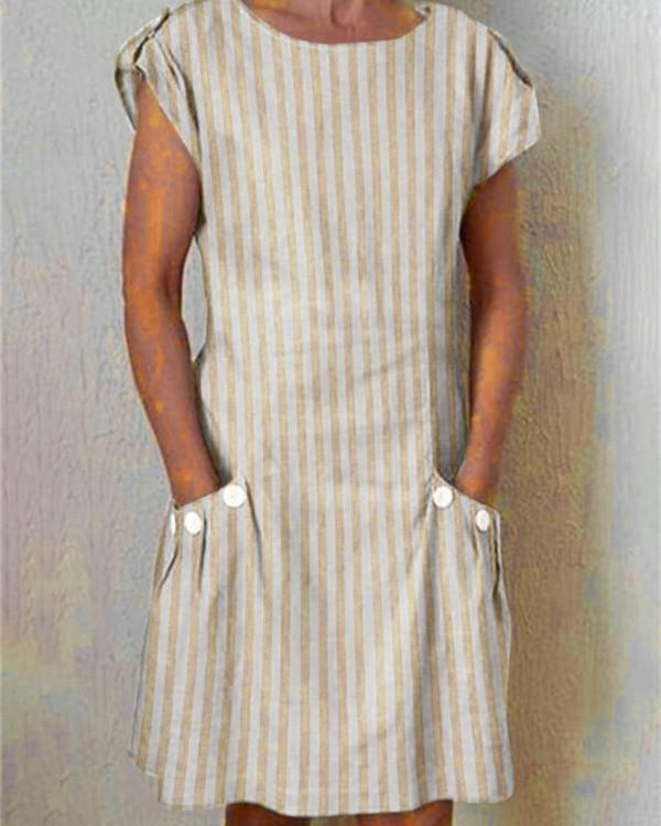 Vintage Round Neck Striped Holiday Chic Dresses