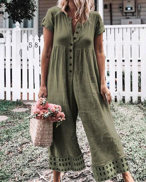Casual Button Fly Solid Color Jumpsuits