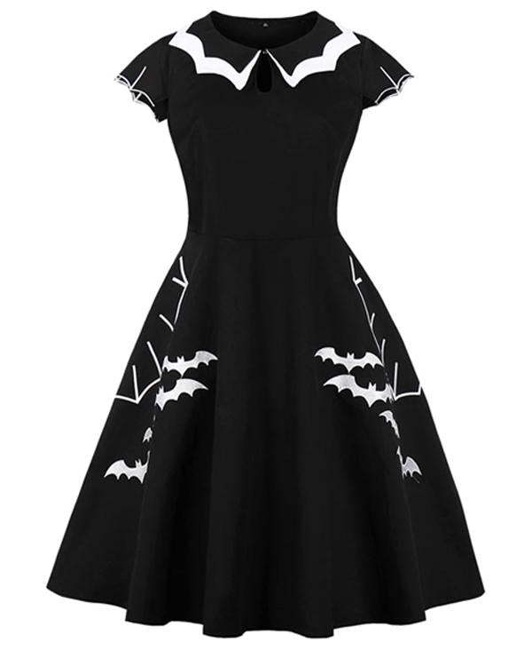 Bat Embroidery Dress In Plus Sizes